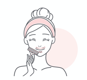 顔の産毛を処理する女性のイラスト