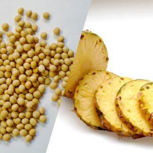 シンプルな大豆とパイナップル